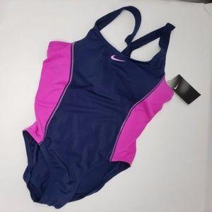 Purple/Navy Blue Two Color One-piece Bathing Suit
